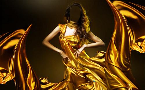 В золотом платье девушка